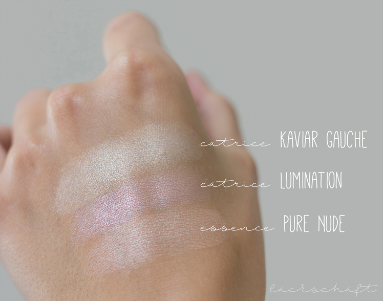 catrice-kaviar-gauche-le-limited-edition-highligther-clair-de-lune-swatch-comparison-vergleich-catrice-lumination-highlighter-essence-pure-nude-highlighter
