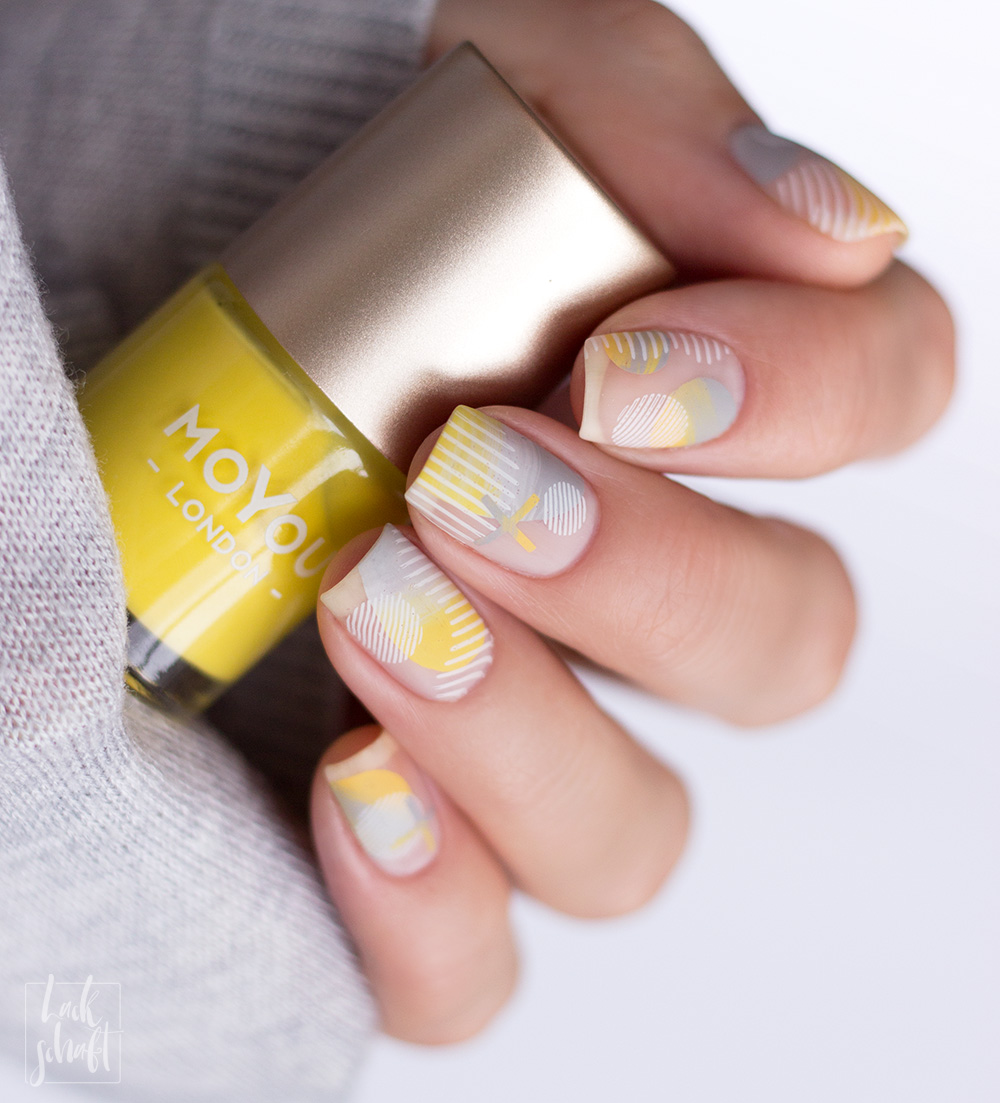 Nailart-Moyou-London-Stamping-Coclor-Of-the-Year-2021-Pantone-Gelb-Grau--Frenchy-holy-shapes-minimal-1