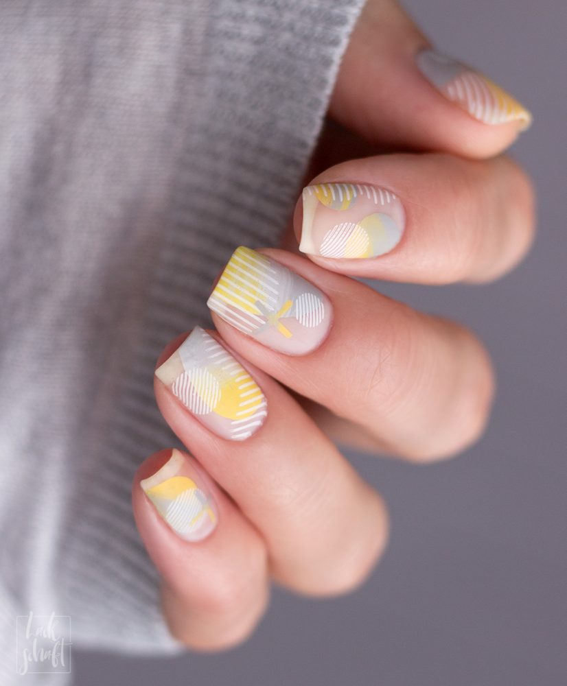 Nailart-Moyou-London-Stamping-Coclor-Of-the-Year-2021-Pantone-Gelb-Grau--Frenchy-holy-shapes-minimal-3