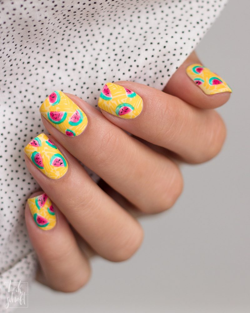Frischlackiert-Challenge-Melon-Party-Nailart-Stamping-Freehand-Moyou-Pro-XL-28-Summer-Nails-3