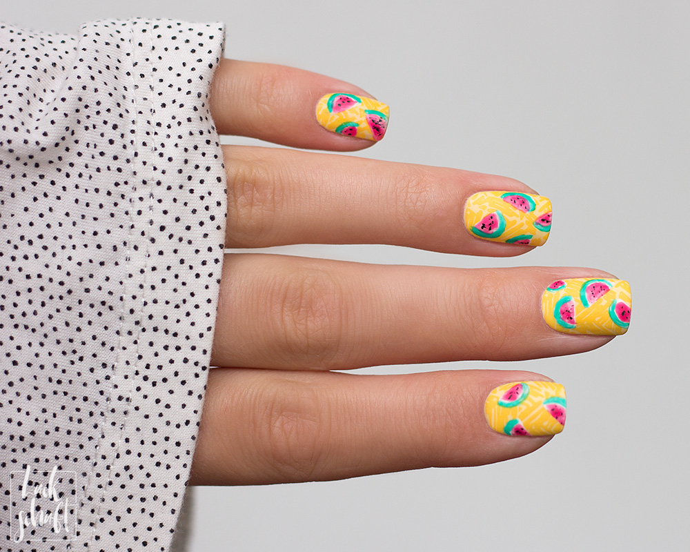 Frischlackiert-Challenge-Melon-Party-Nailart-Stamping-Freehand-Moyou-Pro-XL-28-Summer-Nails-4
