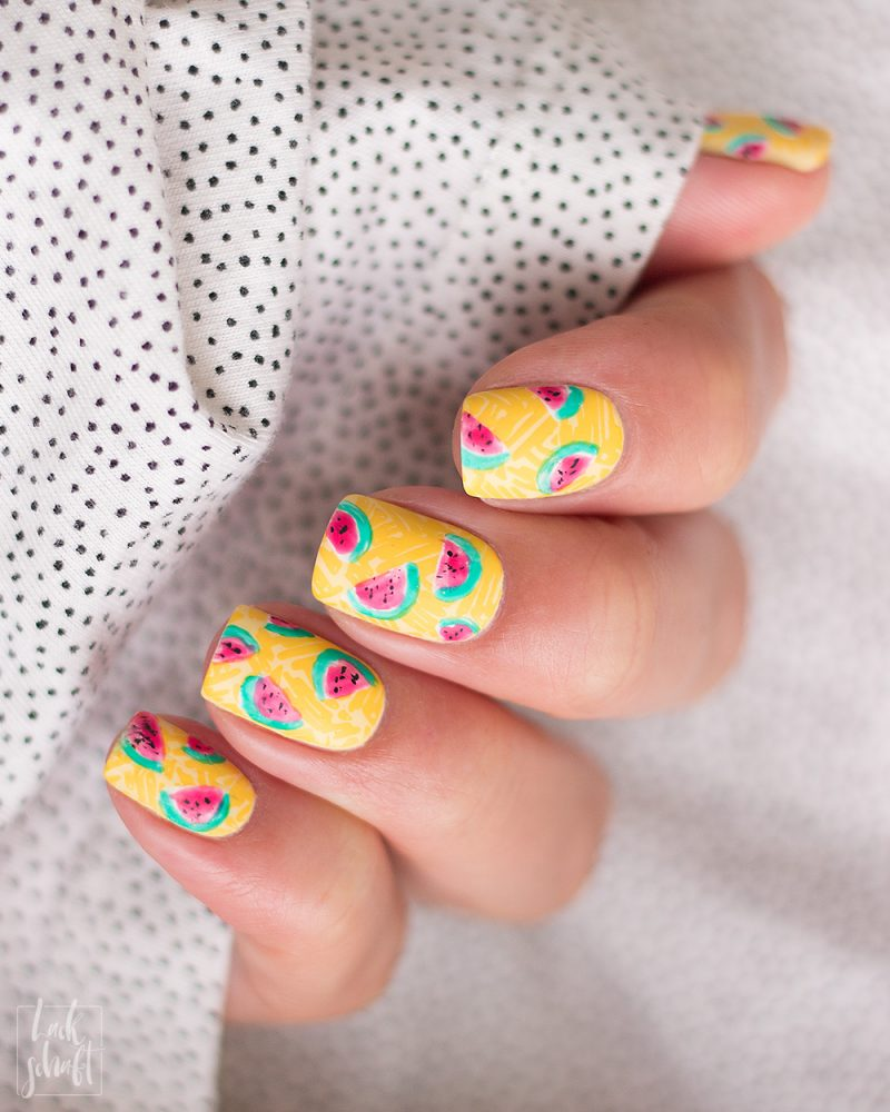 Frischlackiert-Challenge-Melon-Party-Nailart-Stamping-Freehand-Moyou-Pro-XL-28-Summer-Nails-6