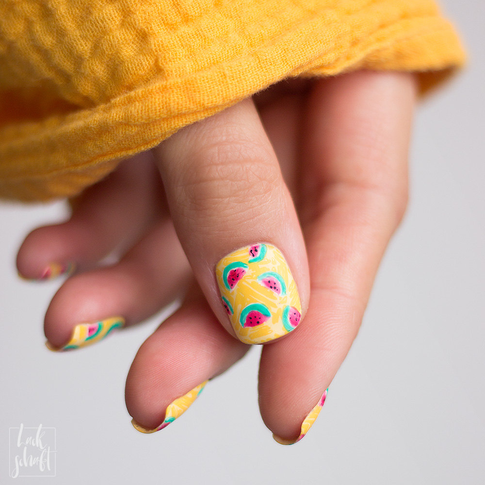 Frischlackiert-Challenge-Melon-Party-Nailart-Stamping-Freehand-Moyou-Pro-XL-28-Summer-Nails-7